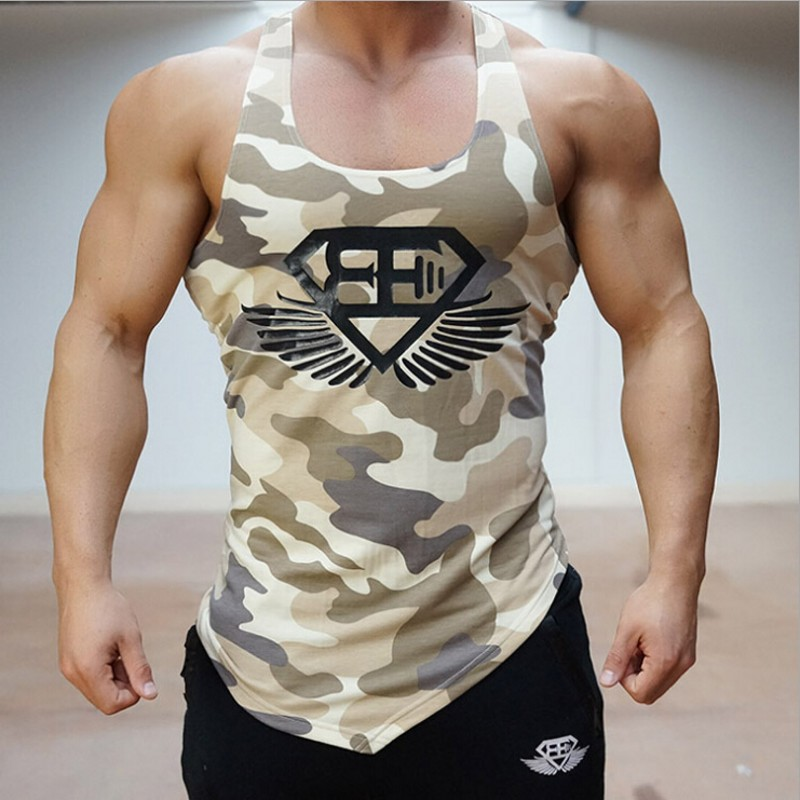 2017 arrived at the stadium shark tank top men's Fitness Aerobics shirt T-shirt camouflage vest