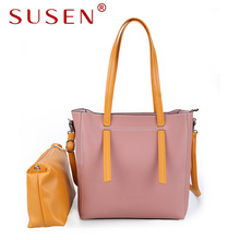SUSEN 2228 Women 2 pcs PU bag set Handle Shoulder Bag zipper closure patchwork color Tote bag Soft Cozy pu leather bag for lady