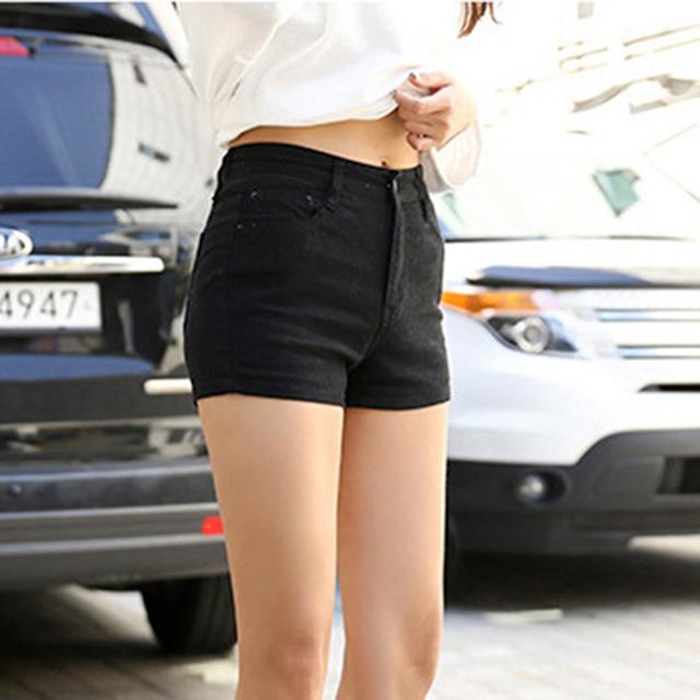 Pantalones cortos Estilo Coreano Mujeres Moda Vintage Color Sólido Algodón Lavado Sexy Cintura Alta Pantalones Cortos de Mezclilla Femenina Pantalones Cortos Feminino