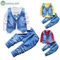 Мальчик одежда джентльмен костюм моды baby boy одежда наборы ребенок с длинными рукавами футболка + брюки костюм дети мальчики младенческая одежда