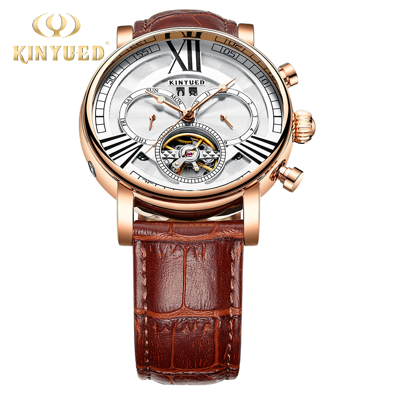 KINYUED New Mens Automatic Mechanical Watches Top Brand Business Watch Men Rose Gold Fashion Style Auto Calendar horloges mannen yazole wrist watch men 2017 top brand luxury famous wristwatch male clock quartz watch hodinky quartz watch relogio masculino