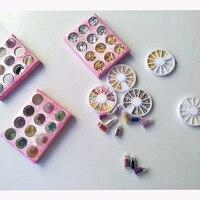 3D Дизайн ногтей Аксессуары поставки золото и серебро Фольга Стикеры 12 Цветов Бусины и Бисер Икра со стразами