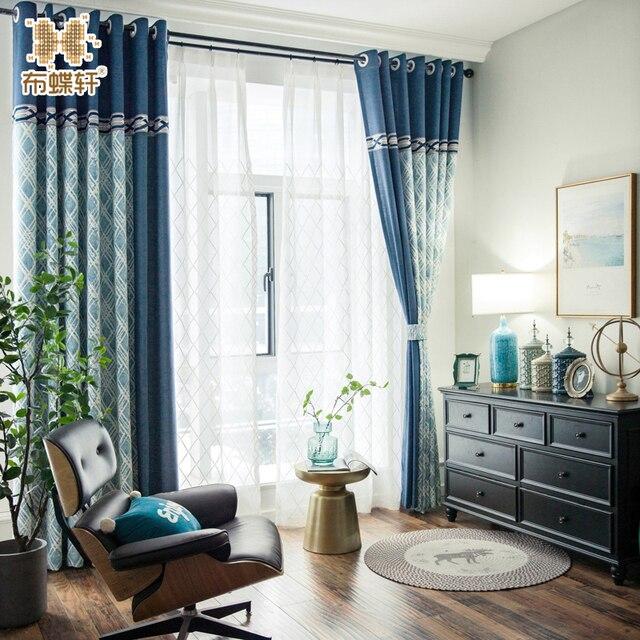 Новинка 2018 года современный Средиземноморский Двусторонняя жаккардовые синий плед роскошный шторы для гостиная спальня белый тюль
