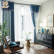 2018 новый современный Средиземноморский Double Side жаккардовые синий плед роскошный Шторы для Гостиная Спальня Белый Тюль
