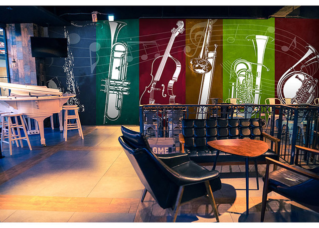 Shinehome Custom Musical Instrument Wallpapers Mural Rolls For Living Room 3 D Wall Paper Bar