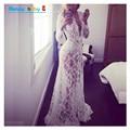Белый пляж dress long кружева dress pregnant dress женщины беременные фотографии реквизит прозрачный кружева dress беременность пижамы
