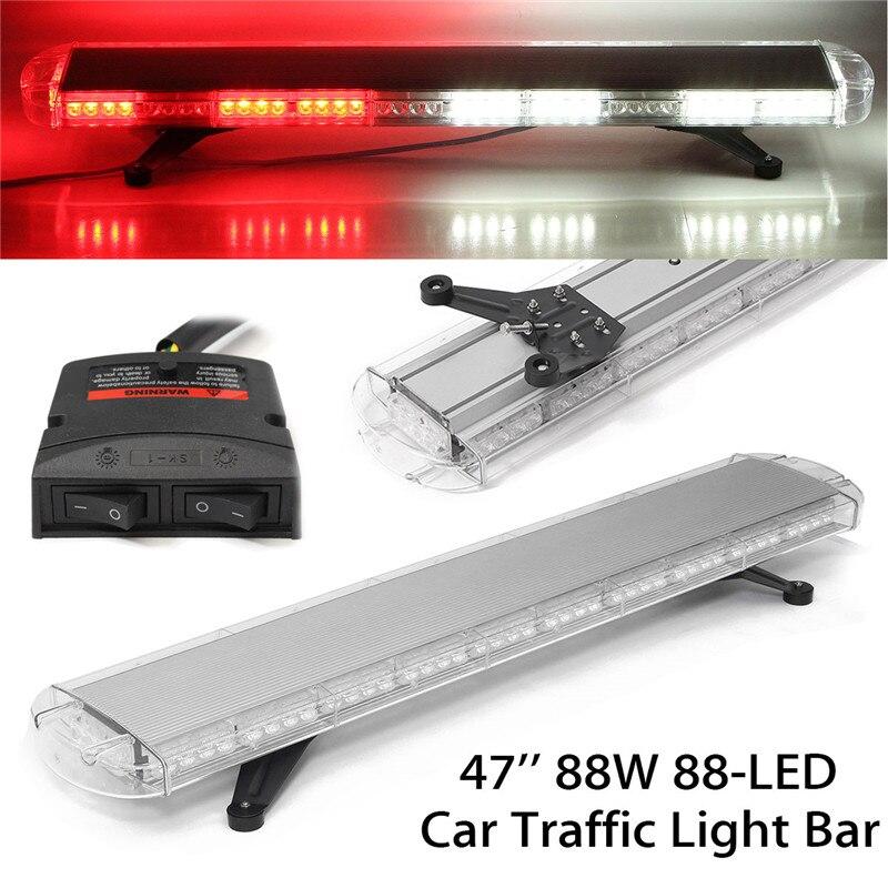 47 Inch 88W 88 LED Strobe Flash Warning Light Bar Car Trucks Beacons Safety Emergency Lights 12V/24V Red White high intensity dc12v 9w led car sunshade warning lights strobe visor emergency light flash lights