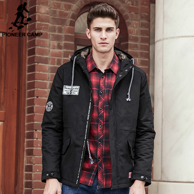 Pioneer Camp New brand clothing thicken men winter jacket top quality male warm winter coat fashion camouflage patchwork 677136