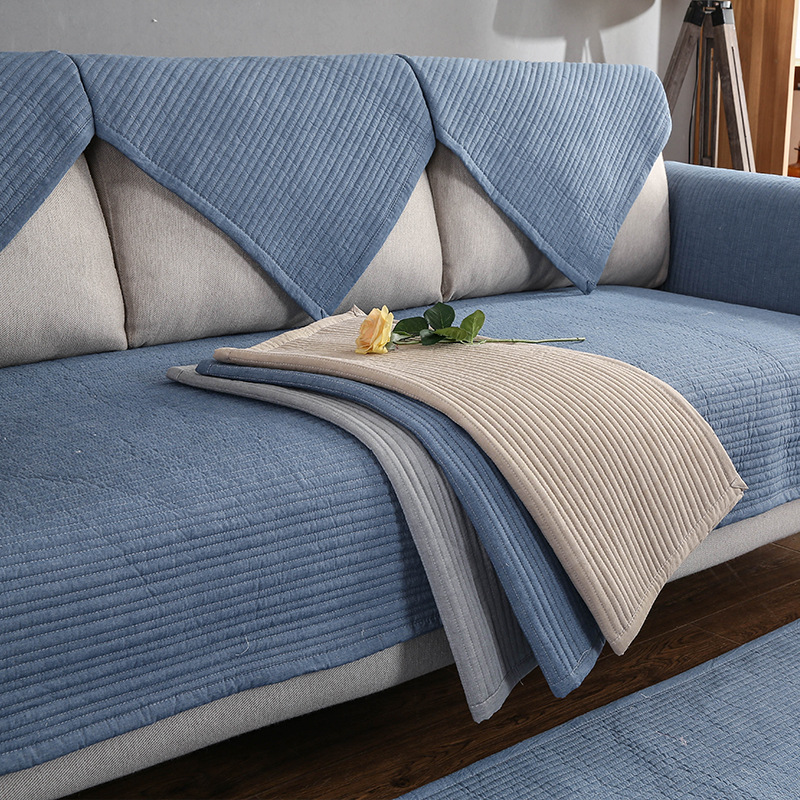 wholesale dealer 18d88 5e77a US $10.97 41% OFF|Nordic Solid Color Striped Sofa Cover Couch Covers Non  slip Four Seasons Sofa Towel Cushion Corner Sofa Protective Ca-in Sofa  Cover ...