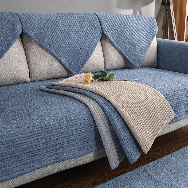 Nordic cor sólida listrado sofá capa capas de sofá não-deslizamento quatro estações sofá toalha almofada canto sofá protetor ca