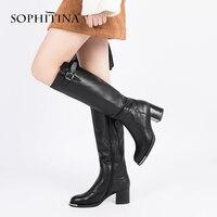 SOPHITINA/Лидер продаж 2018 года, женские сапоги до колена, элегантные сапоги из коровьей кожи с круглым носком на высоком квадратном каблуке, тепл