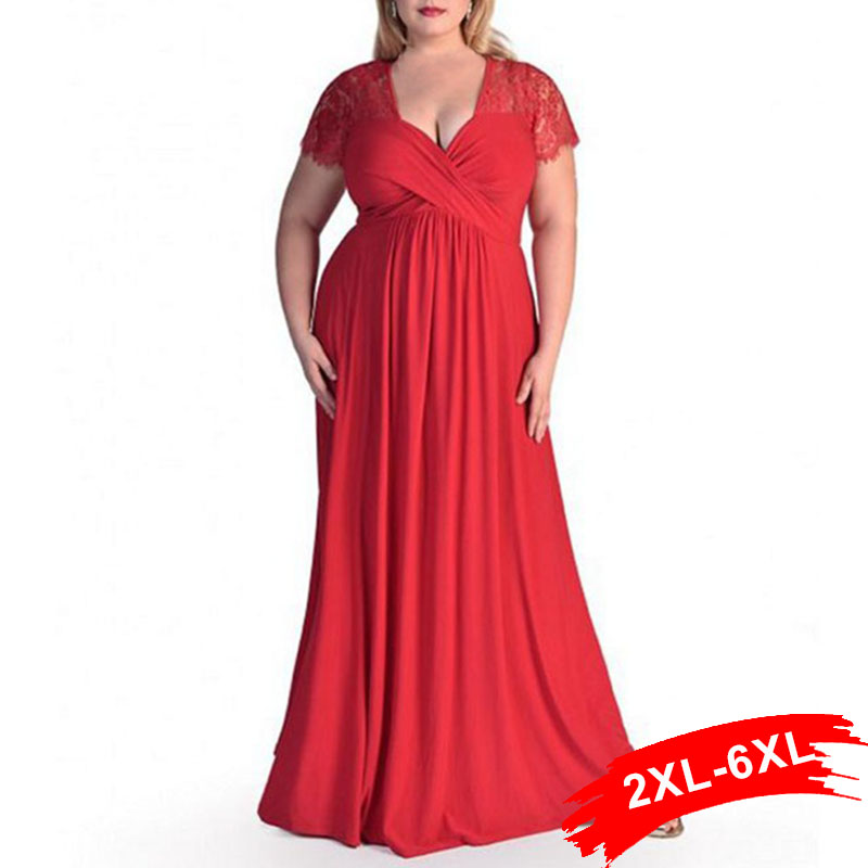 Xxl 4Xl 5Xl 6Xl Plus Size Lace Panelled Sweetheart Neckline Maxi Lace Dress Women Peplum Gown