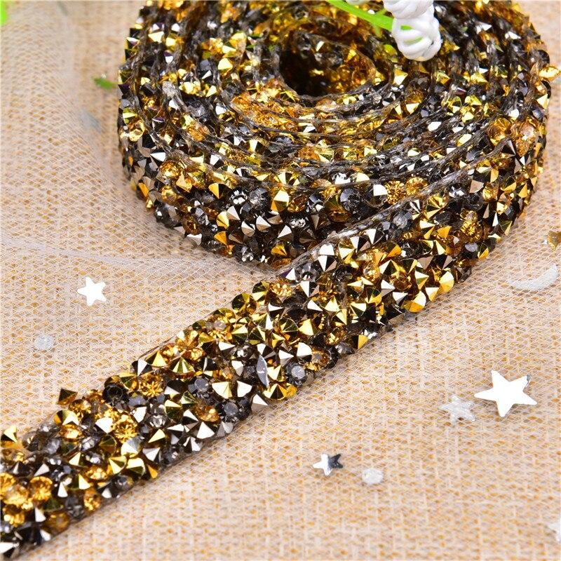 5 yard Rhinestone Trim Mesh Strass Chain Banding Bridal Applique for Garment