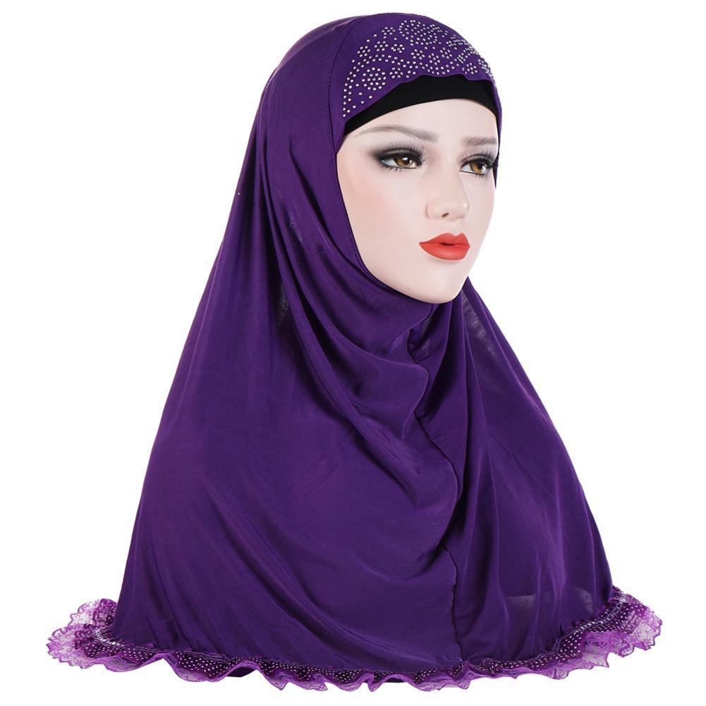 Women's Solid Color Rhinestones Lace Muslim Turban Hijab Head Wrap Headscarf