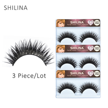 SHILINA 3 Pairs/lot False Eyelashes Natural Long Make Up Fake Lashes Black Soft Section Thick Cross Messy Handmade False Eyelash