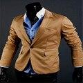 2016 Chegada Nova Primavera Moda Selvagem Coreano Elegante Slim Fit Terno Jaqueta dos homens Casual Vestido de Negócios Blazers