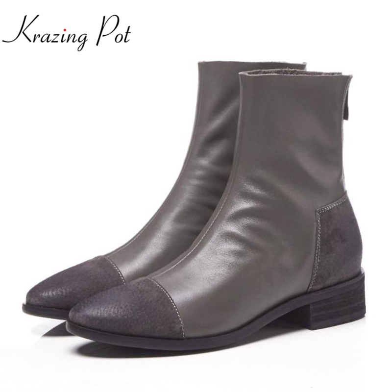 Krazing Pot Winter genuine leather med heel round toe beauty model Chelsea boots superstar pig suede mixed color ankle boots L05 krazing pot winter kid suede cow leather patch work high heel basic boots winter zipper round toe office lady ankle boots l12