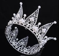 Sparking Silver bridal brides tiaras crown crystal pearls plated luxury bridal hairpiece lady party proms hair accessory TS005
