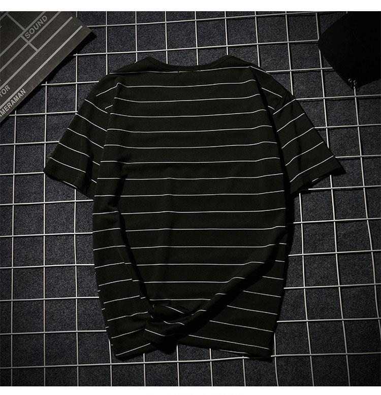 Summer T-shirt Men's Short-sleeved Fashionable Half-sleeved Round-collar Slim Men's Stripe Half-sleeved Clothes MW51 13