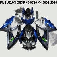 New fairing kit for SUZUKI GSXR 600/750 K4 2008-2010 2009 blue black fairings set GSXR600 GSXR750 08 09 08-10