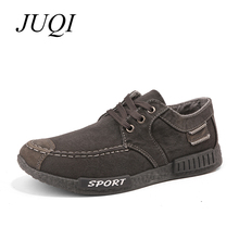 JUQI Fashion Denim Men Canvas Shoes Male Spring Autumn Mens Sneakers Lace-up Casual Breathable