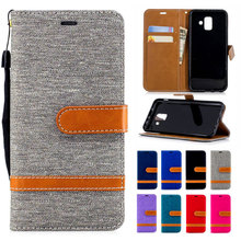 Denim mixed color PU leather flip wallet back cover for Samsung Galaxy S9 smart stand protector for Samsung Galaxy S9 Plus case цена