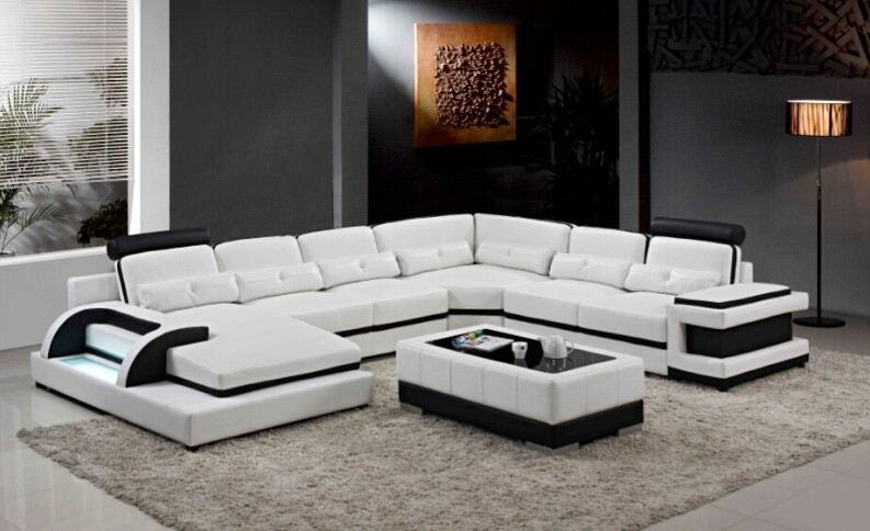 US $1298.0 |Sofa set living room furniture with genuine leather 3 pcs-in  Living Room Sofas from Furniture on AliExpress