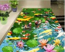 beibehang Fashion home decoration wallpaper pond Mandarin more than every year 3D floor papel de parede 3d flooring papier peint