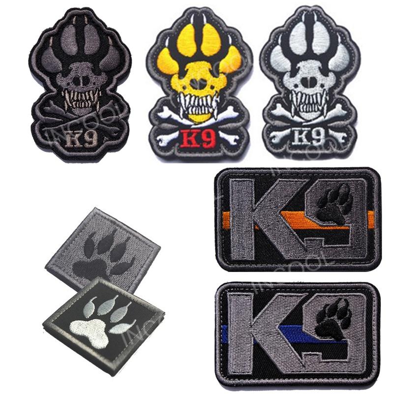 Тонкая Голубая линия K9 спасти собаку вышивка патч военно-тактические Настроение Патчи эмблема аппликации светятся в темноте вышитые значк...