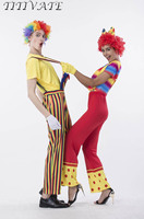 TITIVATE Halloween Costume Circus Clown Naughty Harlequin Suspender Overall Masquerade Uniform Cosplay Fancy Dress For Men