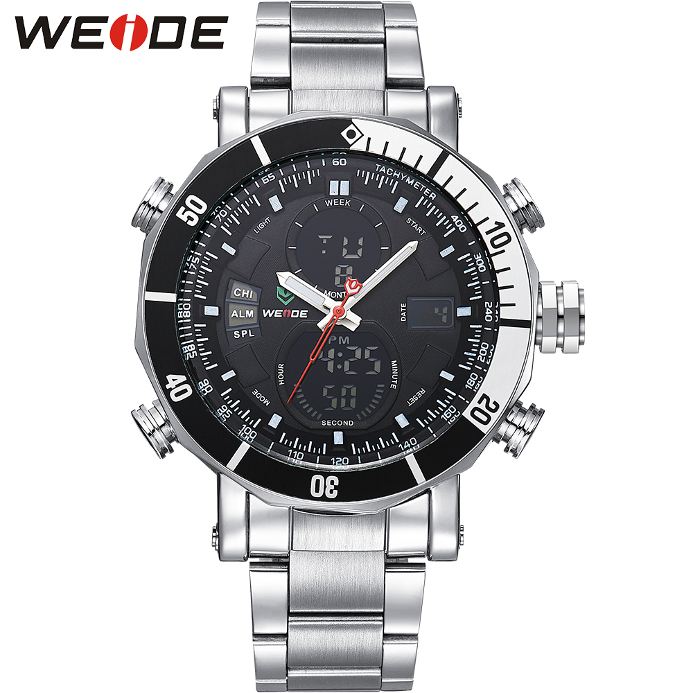 WEIDE Dual Movement Mens Analog Digital Watches Stainless Steel Wrist Alarm Stopwatch Date Display Waterproof Men Casual Clock weide irregular analog led digital watch men quartz dual movement stainless steel bracelet mens waterproof military watches