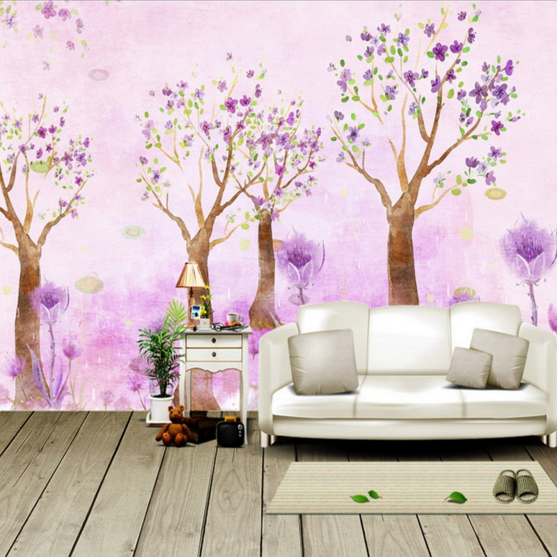 Online Shop Free Shipping Beautiful Romantic Pink Purple Wallpaper Living  Room Lobby Wallpaper 3D Stereo High Quality Bathroom Mural   Aliexpress  Mobile