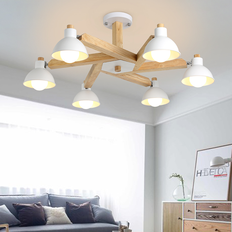 Nordic wood led ceiling lamp for bedroom/living room 3/5/6 heads iron+wood chandelier home new modern led wooden kitchen plafon fashion design of kids room lamp nordic dome light 3 5 heads ceiling lights for home decorate
