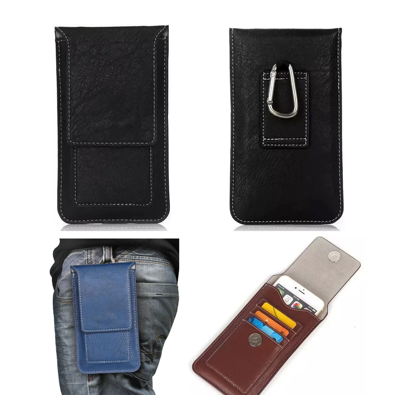 Leather Pouch Belt Hook Loop Card Slots Phone Case Cover Bag Holster For Philips Xenium W8510