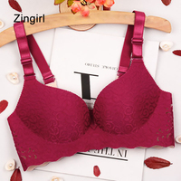Zingirl Sexy Seamless Push Up Bra Bralette Women Vintage Print Cut Out Bra Brassiere Casual Straps Backless Intimates Lingerie