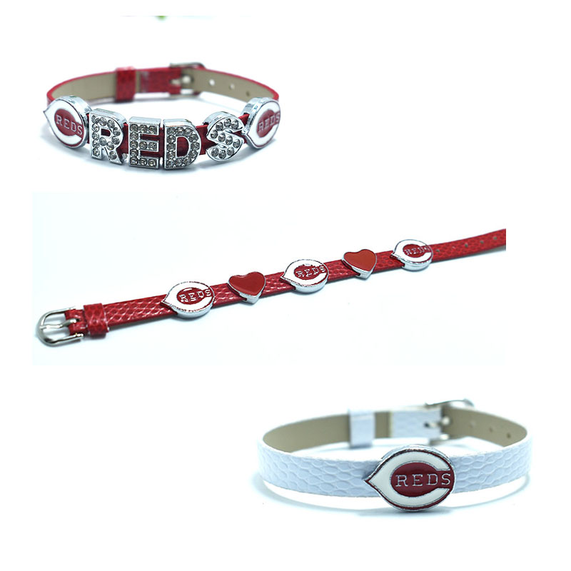 10PCS Sport Team Baseball Cincinnati Reds Alloy Enamel Simple Slide Charm Bracelet Jewelry For Fans Gift Bangles