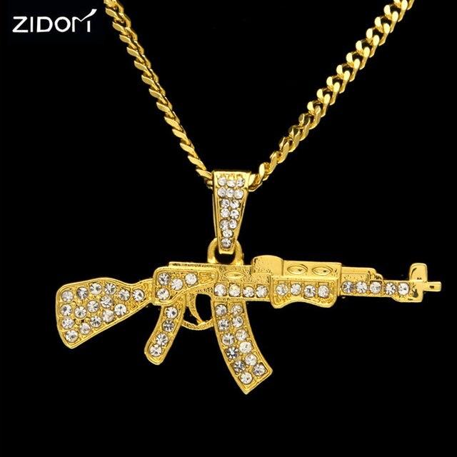 gold silver color men bling bling ak47 gun shape pendant necklaces