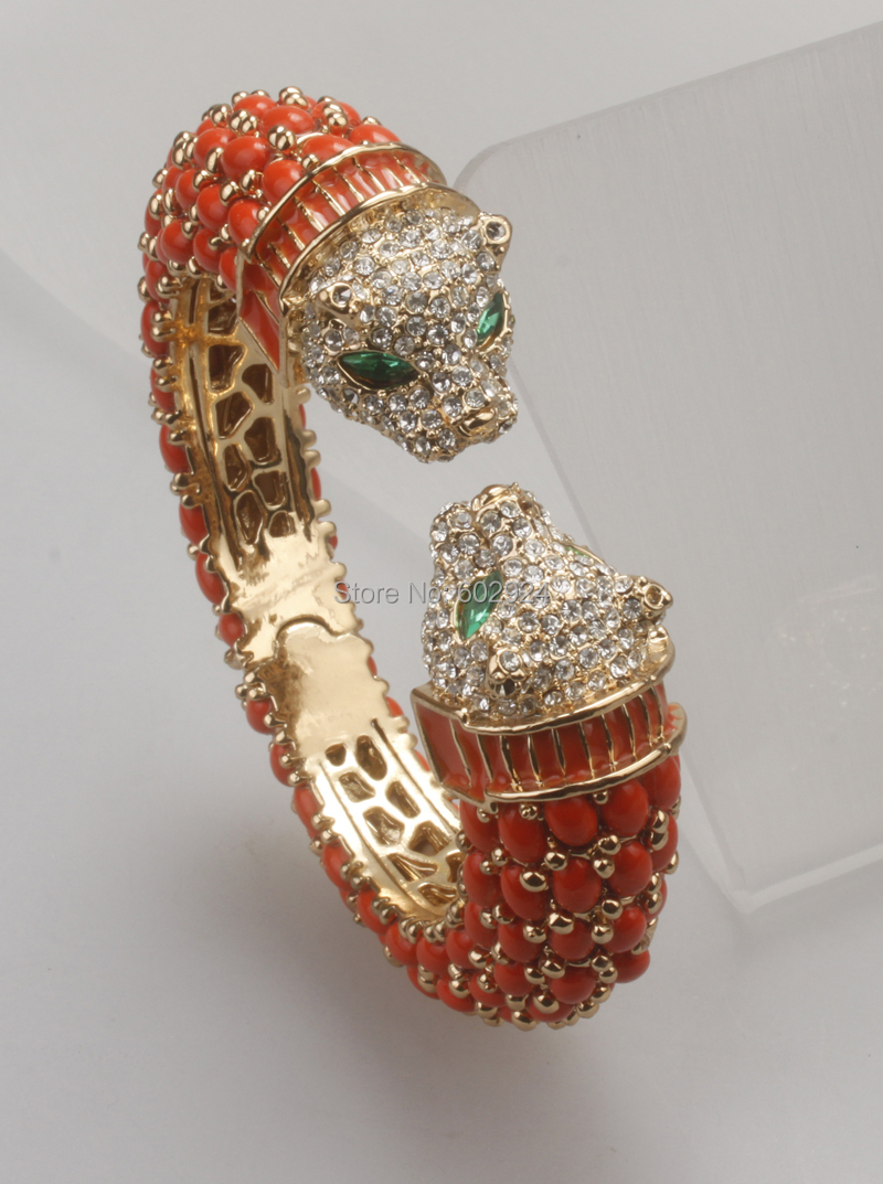 GrayBirds Gold-color High Quality Two Heads Animal Leopard Resin Bracelet Bangle For Women Coral White And Blue In Stock GB0988B