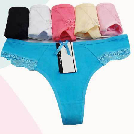 G-String Panty Knickers Blue//Turquoise Highwaisted Thong W//Wide Lace Band