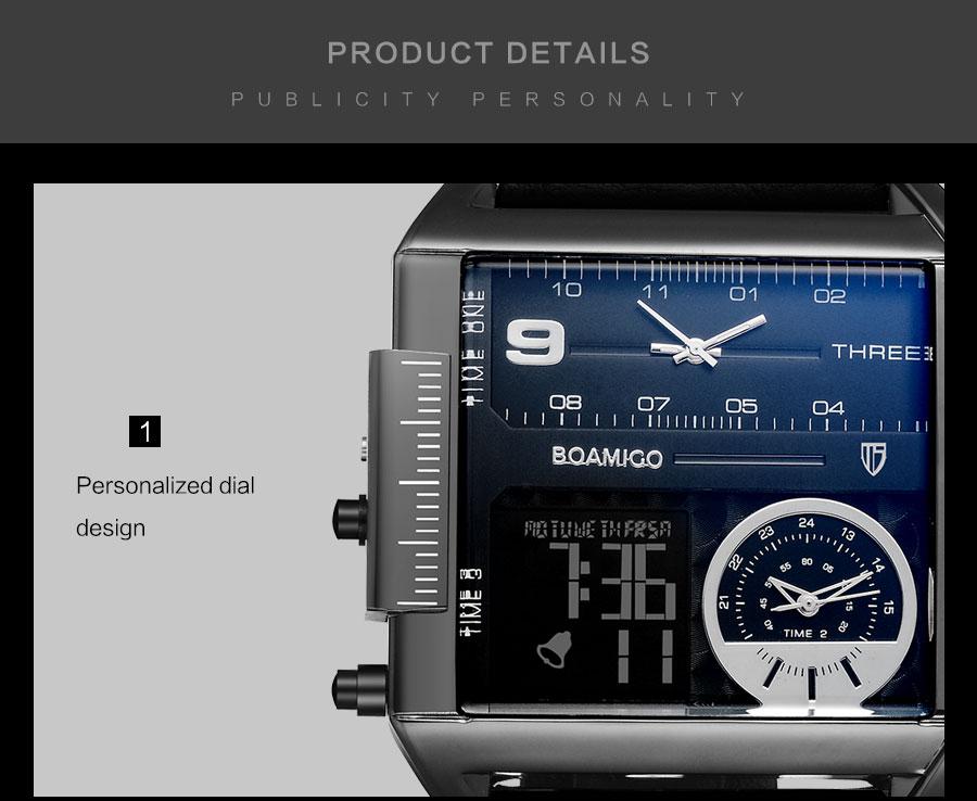 HTB1HSe1X6fguuRjSspaq6yXVXXaS BOAMIGO brand men sports watches 3 time zone big man fashion military LED watch leather quartz wristwatches relogio masculino