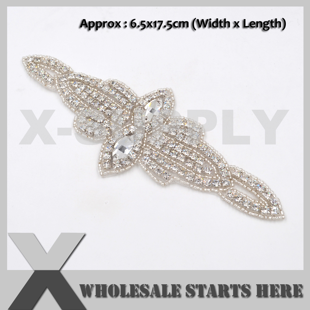 Iron On Crystal Beaded Patch For Bridal Wedding Accessories Decoration Sash Belt Bag Baby Headband Wholesale Bulk