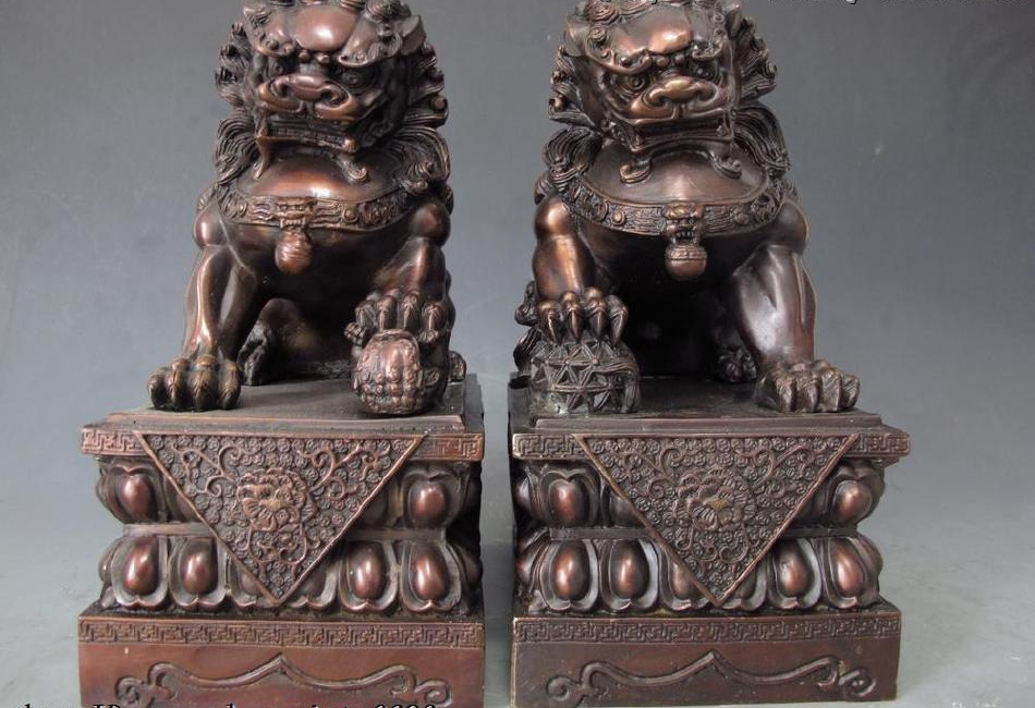 China Royal Pure red bronze copper Guardian Fu foo dog lion beast Statue pair 2018