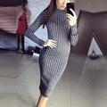 Женщины Новая Мода Знаменитости Зима Теплая Трикотаж Bodycon Бинты Тонкий Свитер Платье