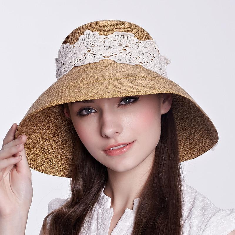 Women Fashion Summer Brim Beach Hats Travel Straw Ribbon Sun Floppy Hats AL