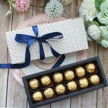 Элегантный сотовый стиль 10 наборов конфет, свечей, бумажных коробок, День Святого Валентина, Рождество, день рождения, подарочная упаковка 9,5x24,5x3,5 см
