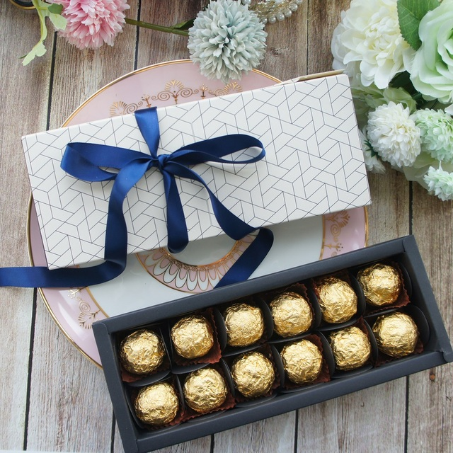 9.5x24.5x3.5CM elegant honeycomb style 10 set Chocolate candy candle Paper Box valentines day Christmas Birthday Gifts pack
