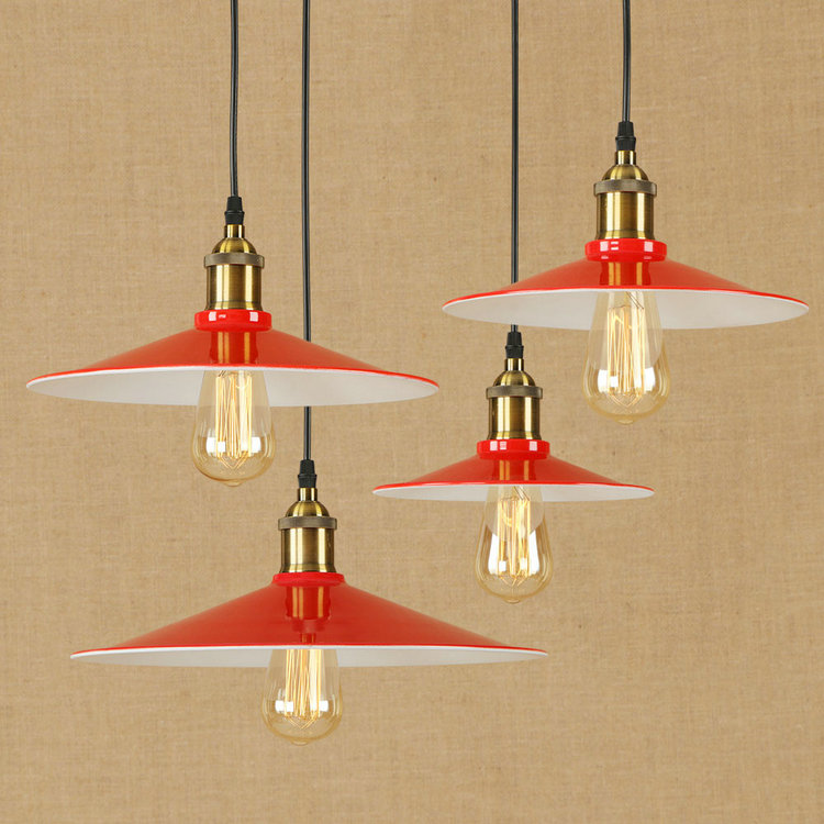 Edison Industrial Loft Vintage Lighting Fixtures E27 Pendant Lights  Warehouse Dining Room Home Kitchen Hanging Red Iron Lampes