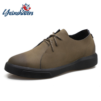 YEINSHAARS New Casual Comfort Men's Genuine Leather Height Increase Shoes Hidden Lift Insole Taller 6cm for Young Man