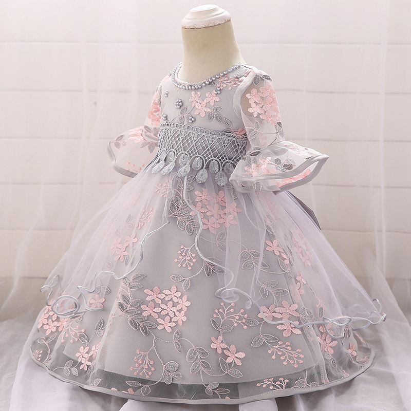 0 24M Baby Girls Dresses Pearl Embroidery Tutu Princess Dress 1 Years Birthday Party Dress for Girls Infant Baby Girl Dress in Dresses from Mother Kids