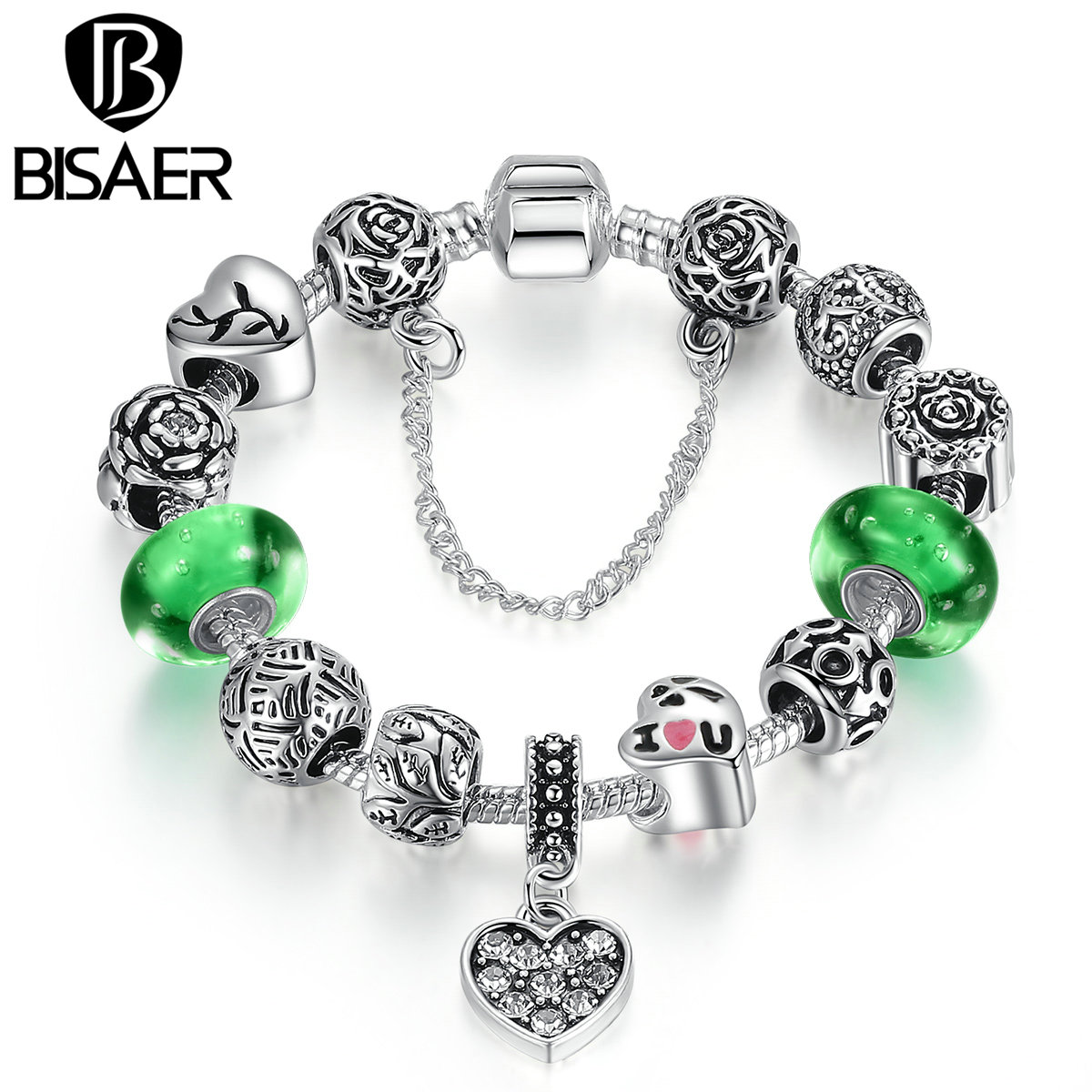Silver Color Green Glass Beads Safety Chain Snake Clasp Heart Pendant Charms Bracelet Women Ethnic Jewelry WEU1899